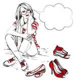 Woman with fashion shoes. Beautiful young woman with fashion shoes Stock Images