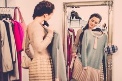 Woman in a fashion showroom Stock Images