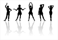 Woman of fashion silhouette-14. Black female fashionable silhouettes on white background Royalty Free Stock Image