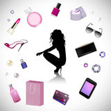 Woman fashion. Silhouette of woman on the cosmetics background Stock Photography