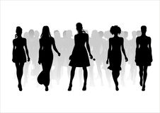 Woman of fashion  silhouettes - 10. Black female fashionable silhouettes on white background. Digital illustration Stock Images
