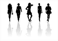 Woman of fashion  silhouettes - 12. Black female fashionable silhouettes on white background. Digital illustration Royalty Free Stock Photos