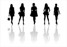 Woman of fashion  silhouettes - 13. Black female fashionable silhouettes on white background. Digital illustration Royalty Free Stock Images