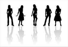Woman of fashion  silhouettes - 2. Black female fashionable silhouettes on white background. Digital illustration Stock Photo