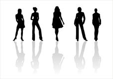 Woman of fashion  silhouettes - 3. Black female fashionable silhouettes on white background. Digital illustration Stock Photography