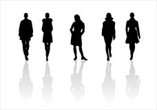 Woman of fashion  silhouettes - 6. Black female fashionable silhouettes on white background. Digital illustration Royalty Free Stock Image
