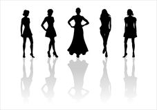 Woman of fashion  silhouettes - 7. Black female fashionable silhouettes on white background. Digital illustration Stock Photo