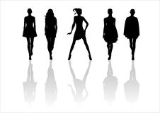 Woman of fashion  silhouettes - 8. Black female fashionable silhouettes on white background. Digital illustration Stock Image