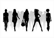 Woman of fashion  silhouettes - 9. Black female fashionable silhouettes on white background. Digital illustration Stock Photos