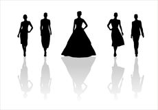Woman of fashion  silhouettes5. Black female fashionable silhouettes on white background. Digital illustration Royalty Free Stock Photo