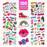 Woman Fashion Stickers Collection with Accessories and Clothes. Girlish Badges Embroidery. Vector illustration stock illustration