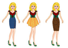 Woman on fashion style dress stock illustration
