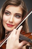 Woman fashion style  portrait with violin music instrument  . Royalty Free Stock Photos
