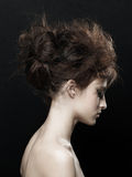 Woman with fashion updo hairstyle Stock Photography