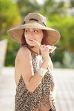 Woman in fashionable animal print Stock Photography