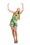 Woman in fashionable green mini dress isolated on Royalty Free Stock Photos