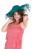 Woman in fashionable hat Stock Images