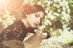 Woman with fashionable spanish makeup, rose flower in hair. Woman with fashionable makeup and red lips, has rose flower in hair hispanic or spanish style in royalty free stock images