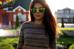 Woman in fashionable sunglasses Stock Photos