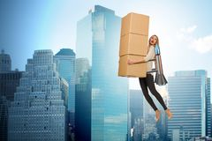 The woman in fast box delivery service on rocket Stock Photography