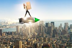 The woman in fast box delivery service on rocket Stock Photo