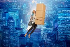 The woman in fast box delivery service on rocket Royalty Free Stock Photos
