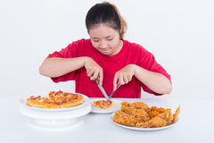 Woman with fast food. High calories food concept Stock Image