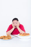 Woman with fast food. High calories food concept Stock Images