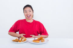 Woman with fast food Stock Photos