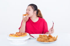 Woman with fast food. High calories food concept Stock Photos
