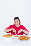 Woman with fast food. High calories food concept Stock Photo