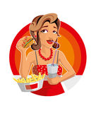 Woman in fast-food illustration Stock Photography