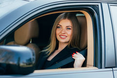 Woman fasten seatbelt Royalty Free Stock Images