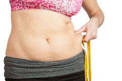 Woman with fat belly Royalty Free Stock Photo