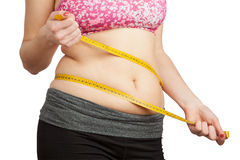 Woman with fat belly. Woman with fat abdomen area isolated on white Royalty Free Stock Image