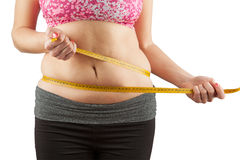 Woman with fat belly. Woman with fat abdomen area isolated on white Stock Photo