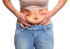 Woman with fat belly. Woman fat belly. Overweight and weight loss concept Royalty Free Stock Images