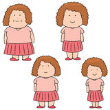 Woman from fat to slim. Vector set of woman from fat to slim Royalty Free Stock Photo