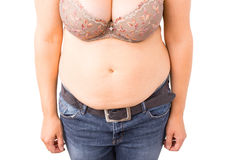 Woman with fat tummy Royalty Free Stock Photo