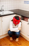 Woman in fear of domestic abuse. Stock Photo