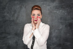 Woman with a fear expression Stock Photo