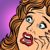 Woman fear face. Comic cartoon pop art retro vector illustration hand drawing stock illustration