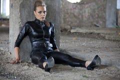 Female assassin in latex dress cosplay upskirt - 5 2