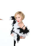Woman with feather boa Stock Photos