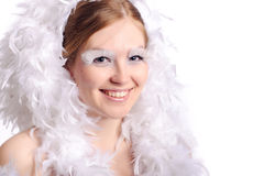 Woman with feather hairs Stock Photo