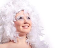 Woman with feather hairs Stock Images