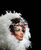 Woman in feathers Royalty Free Stock Images