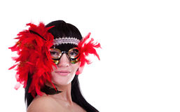 Woman with a feathery carnival mask. Hot brunette woman with a feathery carnival mask Royalty Free Stock Photos
