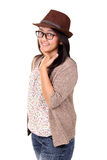 Woman in fedora, cardigan and jeans, isolated Stock Photo