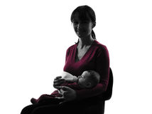 Woman feeding bottle baby  silhouette Royalty Free Stock Photography